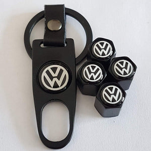 Volkswagen Four Tyre valve cap with keychain in Black Colour