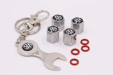 Volkswagen Four Tyre valve cap with keychain in Stainless Steel & 4 Red Colour Varsel