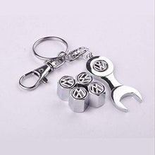 Load image into Gallery viewer, VolkswagenTyre valve cap with keychain in stainless Steel