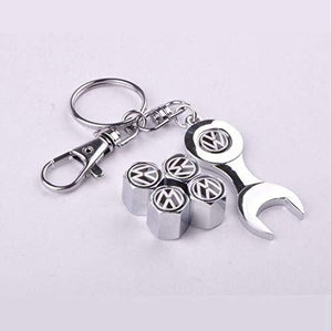 VolkswagenTyre valve cap with keychain in stainless Steel