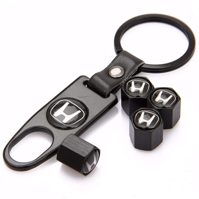 Honda Four Tyre valve cap with keychain in Black Colour