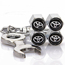 Load image into Gallery viewer, Toyota Four Tyre valve cap with keychain in Chrome Colour