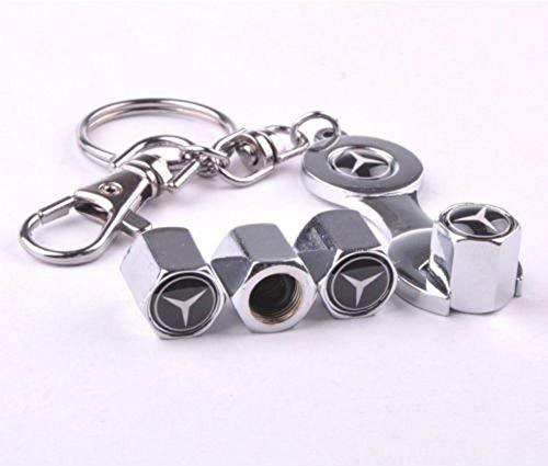 Mercedes Four Tyre valve cap with keychain in Chrome Colour