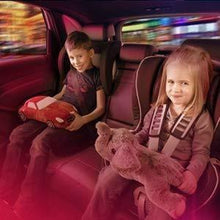 Load image into Gallery viewer, Boy and girl sit on back seat of car & atmopshere light in red colour