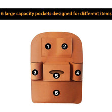 Load image into Gallery viewer, 6 large capacity pockets designed for different item in brown colour