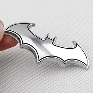 batman logo in chrome colour with black outline