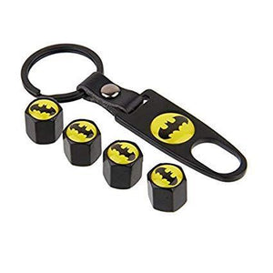 Batman valve cap with keychain in black colour for all cars