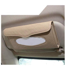 Load image into Gallery viewer, Beige Sun visor type tissue box holder installed on car seat backside