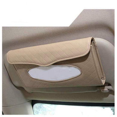 Beige Sun visor type tissue box holder installed on car seat backside