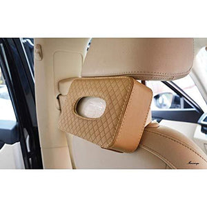 Beige tissue box holder installed in car seat