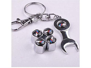 Bmw Four Tyre valve cap with keychain in Stainless Steel