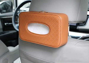 Brown Tissue box holder install on car seat back side