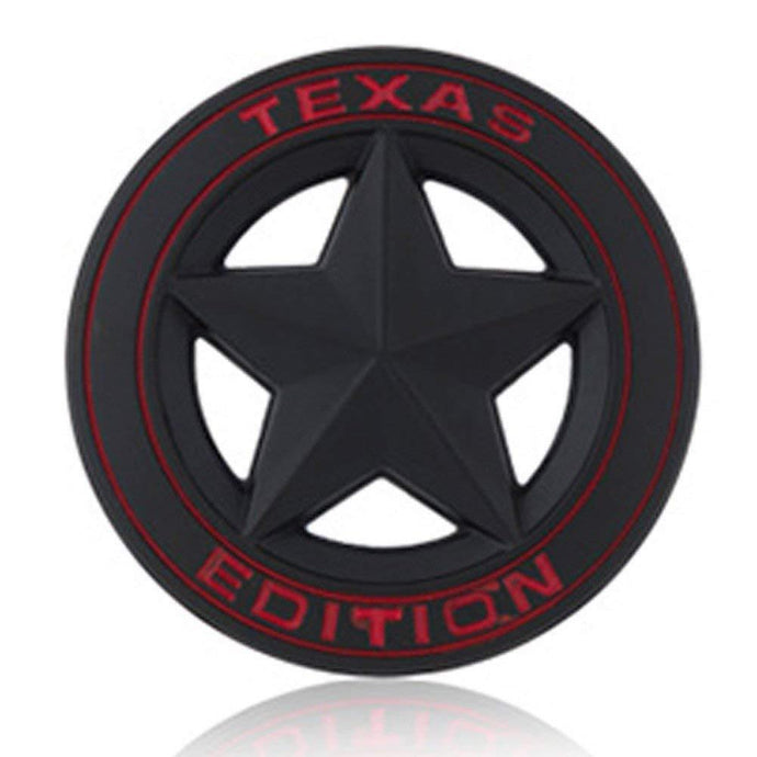 Texas Star Edition logo for jeep in black colour & Red alphabets