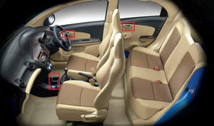 Inner Honda amaze car and red highlighted for chrome interior installation