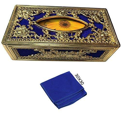 Royal Blue-Golden tissue box With blue Microfiber Cleaning Cloth