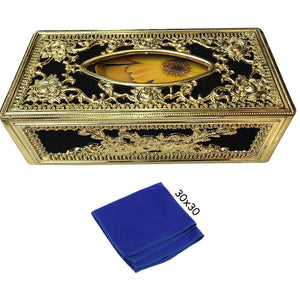 Royal Golden-Black tissue box With blue Microfiber Cleaning Cloth