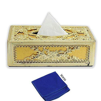 Golden tissue box With blue Microfiber Cleaning Cloth