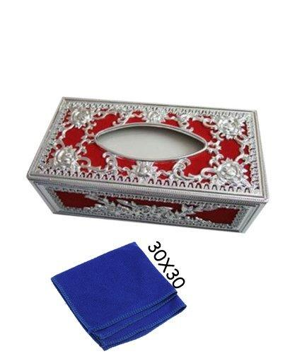 Royal silver-Red tissue box With blue Microfiber Cleaning Cloth