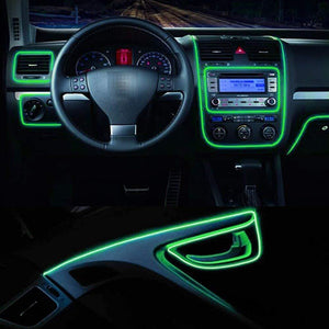 Green El Light installed on car dashboard