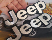 Load image into Gallery viewer, Jeep car logo in silver colour