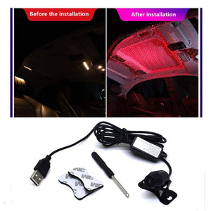 Atmosphere led light before installation & after installatoin in car