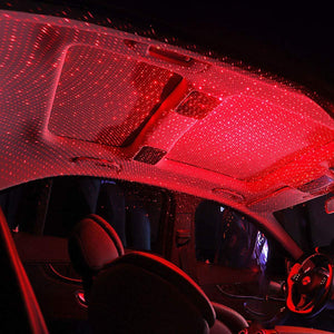 Car roof interior light in red color