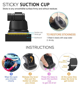 Sticky Suction cup it stick to any smooth & flat surface firmly and without residues