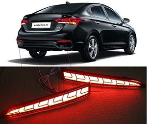 Black hyundai Verna with Spot fro reflector brake light