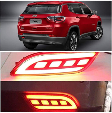 Red Jeep Compass Car with reflector brake light