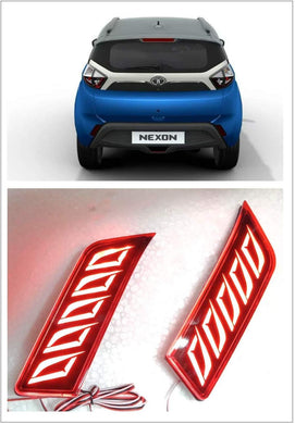 Blue tata nexon with pair of reflector brake light