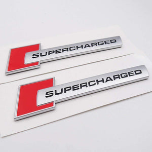 Supercharged 3d logo in red colour for bmw car