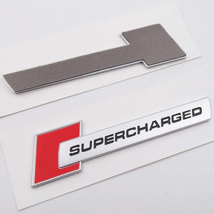 Supercharged 3d logo WITH 3M tape in red colour for bmw car
