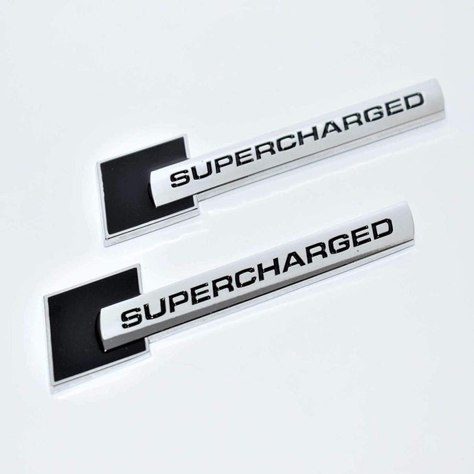 Supercharged 3d logo in black colour for bmw car