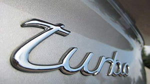 turbo metal logo in chrome colour