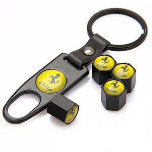 Ferrari Four Tyre valve cap with keychain in Black Colour