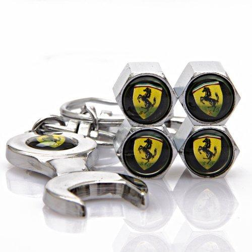 Ferrari Four Tyre valve cap with keychain in Chrome Colour