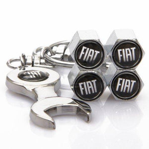 Fiat Four Tyre valve cap with keychain in Stainless Steel