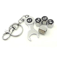 Load image into Gallery viewer, Hyundai Four Tyre valve cap with keychain in Chrome Colour