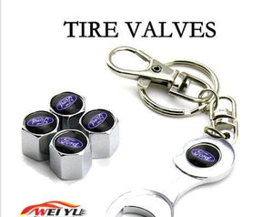 Tires Valve Cap with keychain in stainless steel