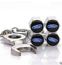Load image into Gallery viewer, Ford Four Tyre valve cap with keychain in Stainless Steel