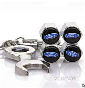 Ford Four Tyre valve cap with keychain in Stainless Steel