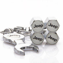 Load image into Gallery viewer, Jeep Four Tyre valve cap with keychain in Chrome Colour