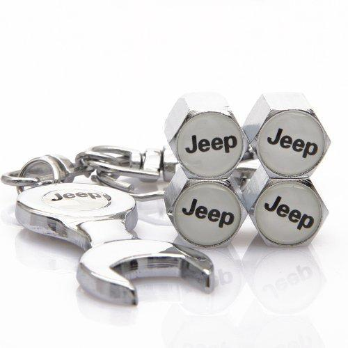 Jeep Four Tyre valve cap with keychain in Chrome Colour