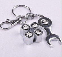 Load image into Gallery viewer, maruti suzuki Four Tyre valve cap with keychain in Chrome Colour