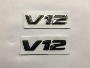 V12 Symbol logo in black & chrome color for all car