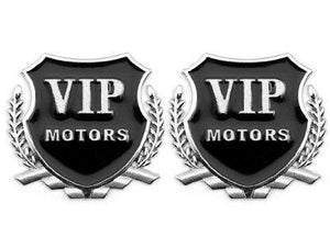 Pair of VIP Motor logo in silver colour