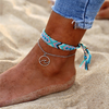 Maui Anklet turquoise and silver with a wave charm