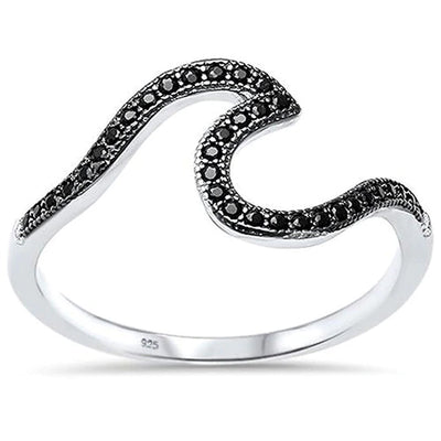 Black wave ring with silver 925 and black crystals