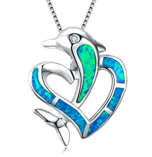 Dolphin Lover Necklace with opal blue