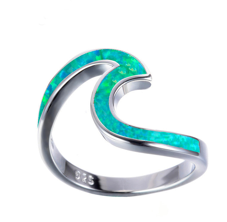 Opal Blue Wave Ring